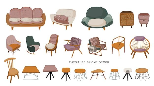 Stylowe skandynawskie wnętrze salonu - izolowana sofa, fotel, stolik kawowy, komoda, dekoracje do domu. przytulne nowoczesne wygodne mieszkanie urządzone w stylu hygge