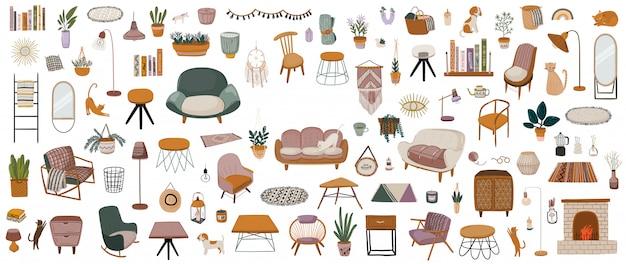 Stylowe skandynawskie wnętrze salonu - sofa, fotel, stolik kawowy, roślina doniczkowa, lampa, dekoracje do domu. przytulne nowoczesne wygodne mieszkanie urządzone w stylu hygge.