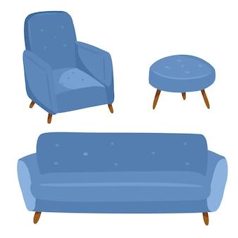 Stylowe skandynawskie wnętrze salonu - sofa i fotel. dekoracje domowe lagom. przytulny sezon. nowoczesne, wygodne mieszkanie urządzone w stylu higienicznym. ilustracji wektorowych