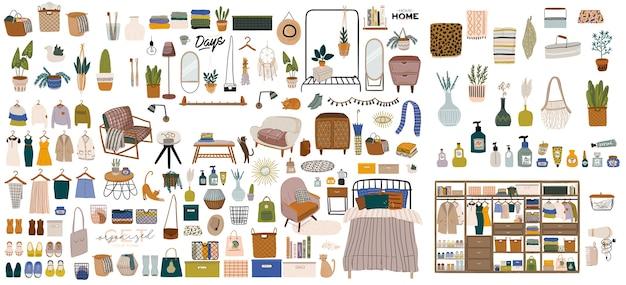 Stylowe skandynawskie wnętrze sypialni - łóżko, sofa, szafa, lustro, roślina, lampa, dekoracje do domu.