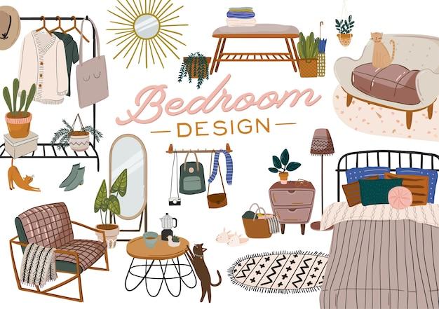 Stylowe skandynawskie wnętrze sypialni - łóżko, sofa, szafa, lustro, stolik nocny, roślina, lampka, dekoracje do domu. przytulne nowoczesne wygodne mieszkanie urządzone w stylu hygge. ilustracja. odosobniony