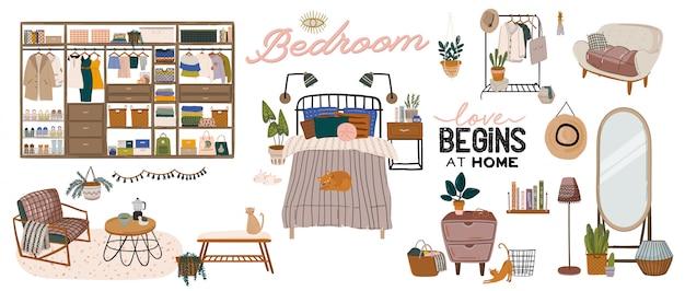 Stylowe skandynawskie wnętrze sypialni - łóżko, sofa, szafa, lustro, stolik nocny, roślina, lampka, dekoracje do domu. przytulne nowoczesne wygodne mieszkanie urządzone w stylu hygge. ilustracja.