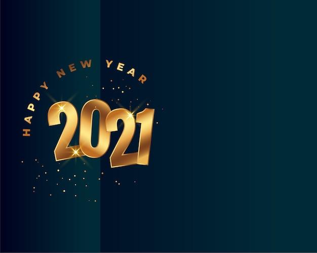Stylowe szczęśliwego nowego roku 2021 złote tło z miejsca na tekst
