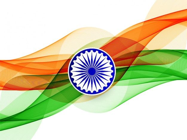 Stylowe tło faliste flagi indii