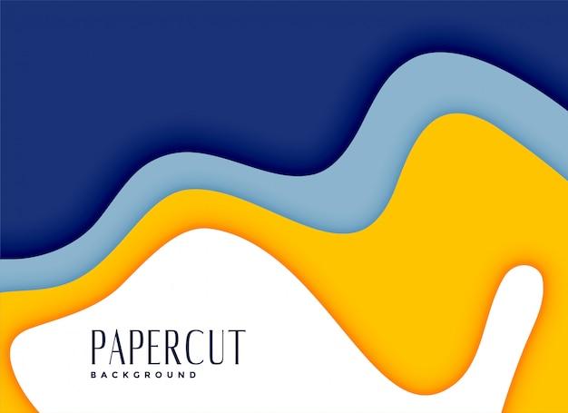 Stylowe tło papercut warstwy żółty i niebieski