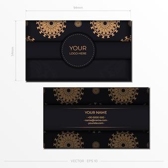 Stylowe wizytówki z luksusowymi zdobieniami. szablon do druku projektu wizytówek w kolorze czarnym z greckimi ornamentami.