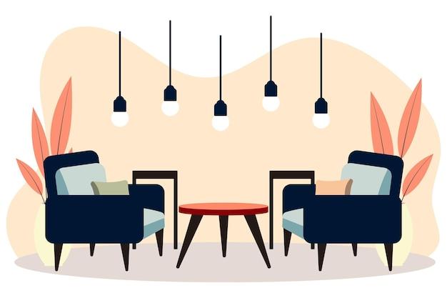 Stylowe wnętrza apartamentów w stylu skandynawskim z nowoczesnym wystrojem. przytulnie umeblowany salon. ilustracja kreskówka płaski wektor. jasne, stylowe i wygodne meble z roślinami doniczkowymi.