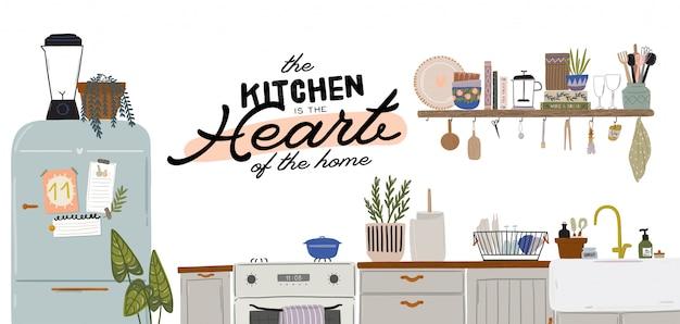 Stylowe wnętrze kuchni skandynawskiej - kuchenka, stół, naczynia kuchenne, lodówka, dekoracje do domu. przytulne nowoczesne wygodne mieszkanie urządzone w stylu hygge.