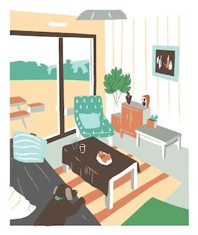 Stylowe wnętrze salonu lub salonu pełne przytulnych mebli i domowych dekoracji