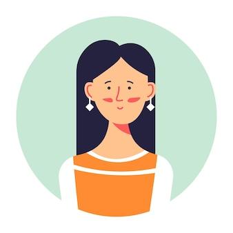 Stylowe zdjęcie dziewczyny nastolatek lub awatar, na białym tle portret kobiety noszącej kolczyki. elegancka kobieca postać pozuje, atrakcyjna brunetka, studentka college'u lub uniwersytetu. wektor w stylu płaskiej