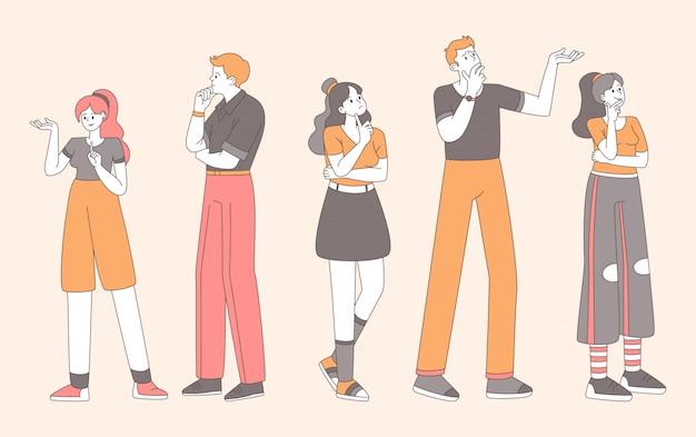 Stylowi ludzie w wątpliwość płaska ilustracja. ładne dziewczyny, faceci podejmujący decyzje z niepewnym wyrazem twarzy i gestami konturują pojedyncze postacie. zaskoczeni, zamyśleni mężczyźni i kobiety myślą