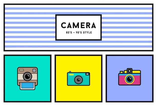 Stylowy aparat fotograficzny w stylu lat 80-tych i 90-tych zestaw ikon w retro kolorach