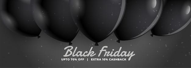 Stylowy czarny piątek sprzedaż transparent z realistycznymi balonami