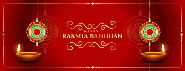 Stylowy czerwony szczęśliwy raksha bandhan tradycyjny festiwal banner