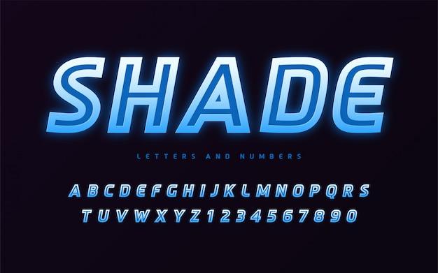 Stylowy design kolorowych świecących bezszeryfowych liter i cyfr