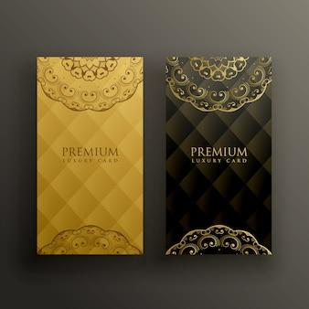 Stylowy design złotej karty mandali premium