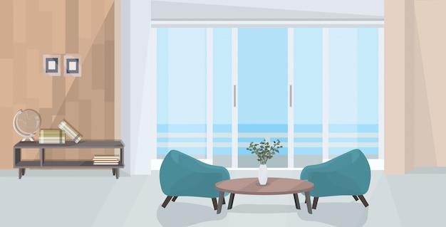 Stylowy dom nowoczesny salon wnętrze puste pusty dom ludzie pokój z meblami płaskie poziome
