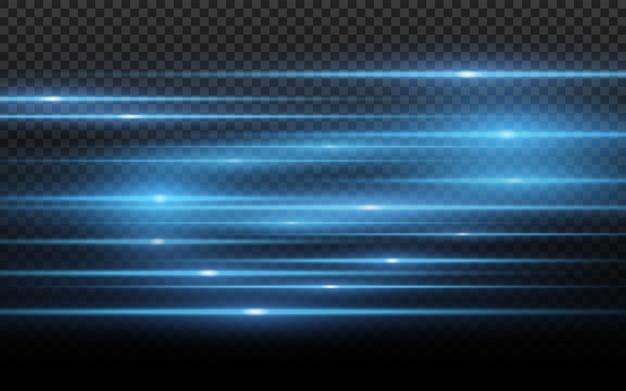 Stylowy efekt niebieskiego światła. streszczenie laserowe wiązki światła.