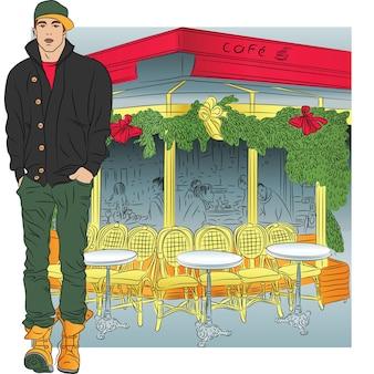 Stylowy facet w dżinsach, kurtce, butach, czapce w stylu szkicu na tle paryskiej kawiarni