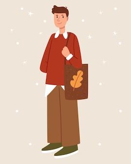 Stylowy facet z jesienną klientką jesienny nastrój styl skandynawski