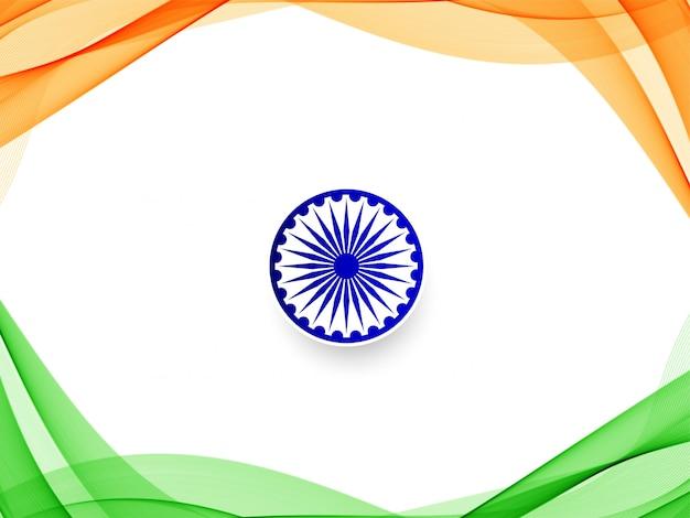 Stylowy falisty flaga indii tło