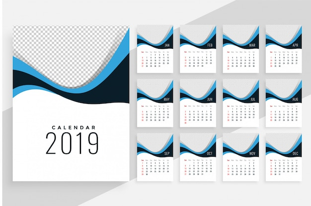 Stylowy, falisty kalendarz 2019
