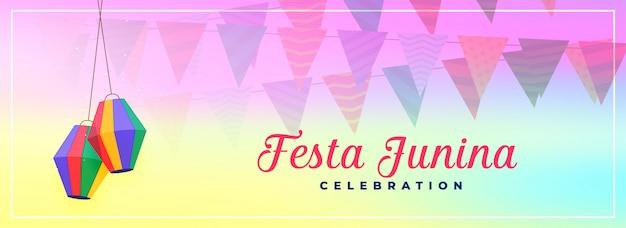 Stylowy festiwal festa junina brazil banner