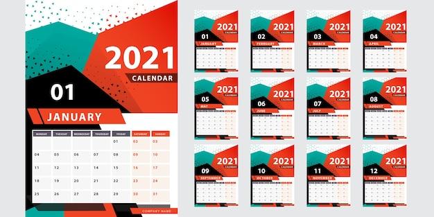 Stylowy geometryczny kalendarz na 2021 rok
