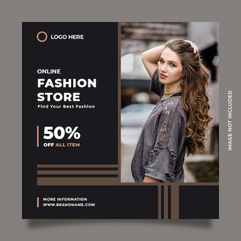Stylowy i nowoczesny projekt szablonu sprzedaży czarnej mody dla postów w mediach społecznościowych i promocji banerów