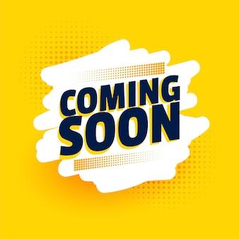 Stylowy już wkrótce żółty projekt banera