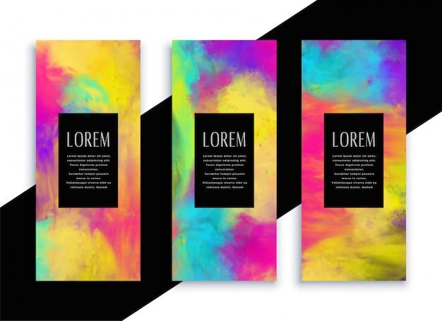 Stylowy kolorowy akwarela pionowe banery ustawione