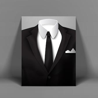 Stylowy męski garnitur z plakatem z muszką przy jasnoszarej ścianie