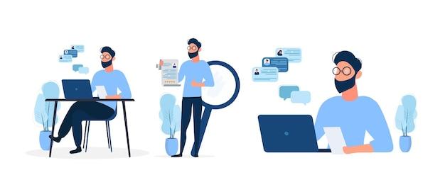Stylowy mężczyzna w okularach pracuje na laptopie. facet trzyma w rękach życiorys i pokazuje klasę. pojęcie poszukiwania ludzi do pracy. na białym tle na białym tle. .