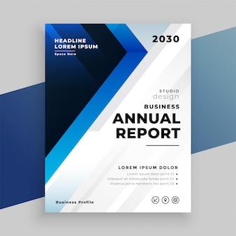 Stylowy niebieski roczny raport biznesowy projekt szablonu ulotki