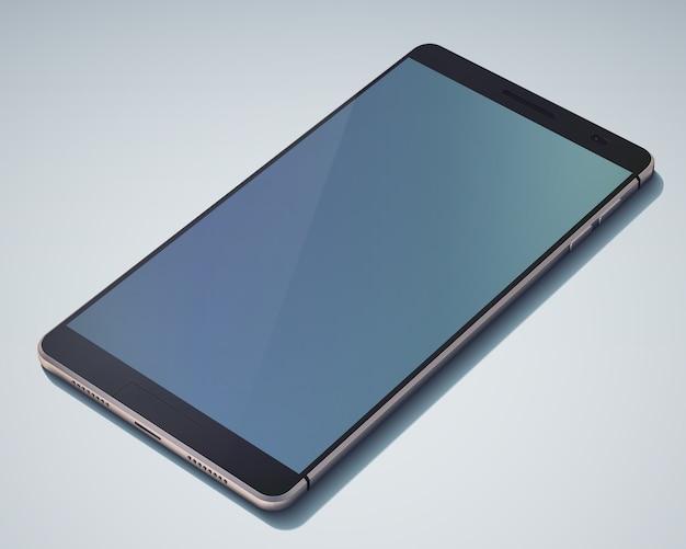 Stylowy obiekt smartfona z ekranem dotykowym na niebiesko z dużym ciemnoniebieskim pustym ekranem bez górnego rogu na zdjęciu na białym tle