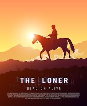 Stylowy plakat dziki zachód ilustracja