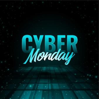 Stylowy projekt cyber efekt poniedziałek 3d banner