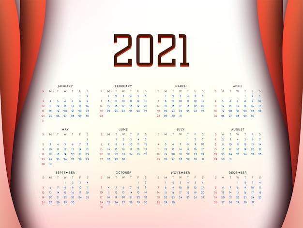 Stylowy projekt kalendarza na nowy rok 2021