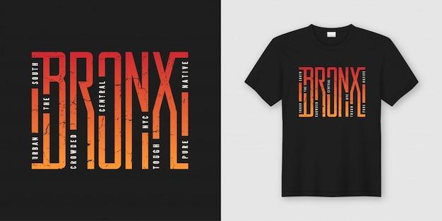 Stylowy projekt koszulki i odzieży bronx, typograficzny