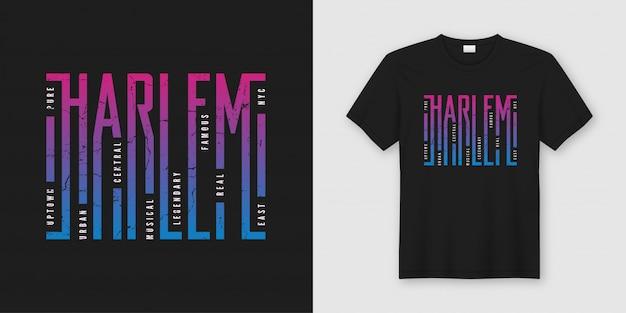 Stylowy projekt koszulki i odzieży harlem, typograficzny