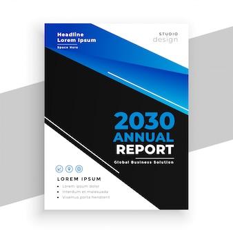 Stylowy projekt ulotki rocznego raportu biznesowego w kolorze niebieskim i czarnym