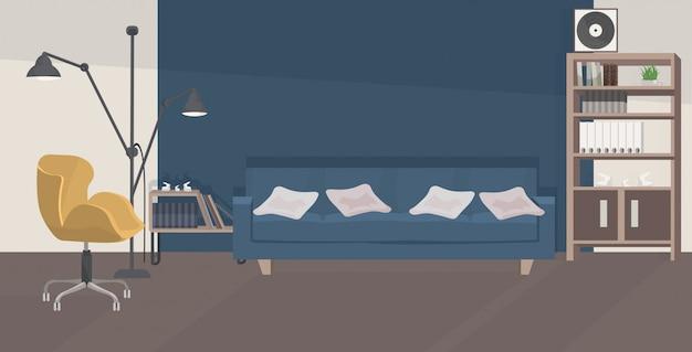 Stylowy salon pusty bez ludzi nowoczesne wnętrze mieszkania z meblami płaskie poziome
