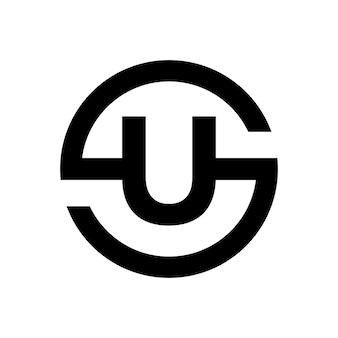Stylowy symbol litery s połączenie z literą u