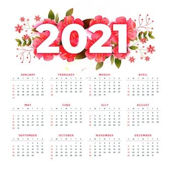 Stylowy szablon kalendarza 2021 w stylu kwiatowym