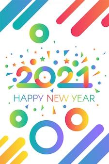 Stylowy szablon szczęśliwego nowego roku 2021 z tekstem w jasnych kolorach gradientu