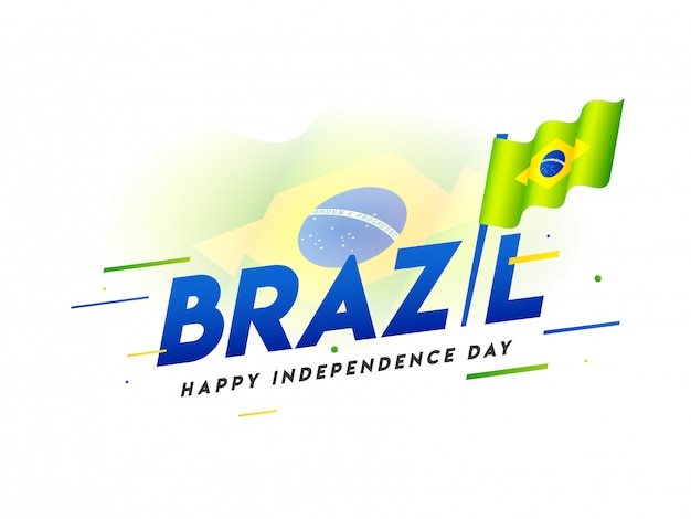 Stylowy tekst brazylii z falistą flagą narodową na szczęśliwy dzień niepodległości