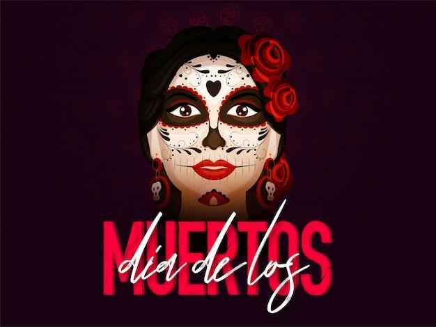 Stylowy tekst dia de los muertos z twarzą catrina w kolorze bordowym. baner lub plakat.