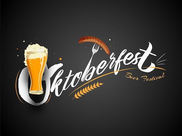 Stylowy tekst oktoberfest beer festival z lampką wina