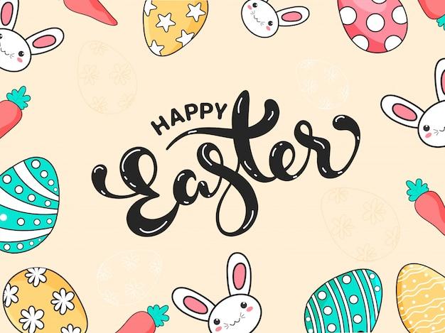 Stylowy tekst wesołych świąt z kolorowymi jajkami i królik na beżowym kolorze.