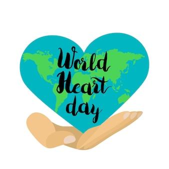 Stylowy transparent obchody dnia serca świata. wektor
